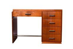 mahagoni, art, deco, schreibtisch, 1930, holz, braun, alt, vintage, design, büro, frankreich, schublade, restauriert, lackiert
