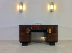 Original 1920er Art Deco Schreibtisch mit Alcantara Leder, Tische, Antiquitaeten, Moebel, Schreibtische, Nussbaum, Walnuss, Bücherhalter