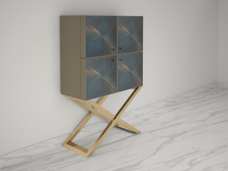 Quadratischer Design Wohnzimmerschrank Mit Geburstetem Messing