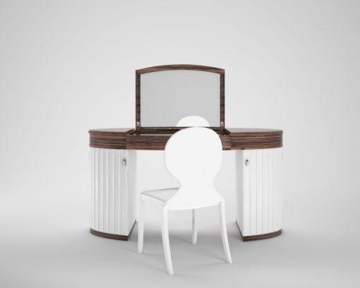 weiß, hochglanz, design, schminktisch, set, stuhl, finish, makassar, furnier, anpassbar, neu, nachbau, art, deco, style, holz