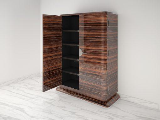 Moderner Design Schrank aus Makassar Chromgriffe Hochglanz, Barschrank, Individualisierbar, polierte Oberflächen, mattschwarzes Innenleben