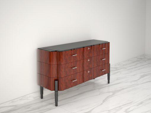 Nussbaum Art Deco Design Schubladen Kommode Hochglanz, elegante Maserung, großartiges Design, transparenter Klavierlack, geschwungene Schubladen, Innendesign