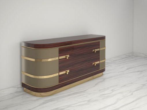 Ausgefallenes Palisander Sideboard mit Messing Details, modernes Design, polierter Messing, Luxus Moebel, Innendesign, Modernes Sideboard