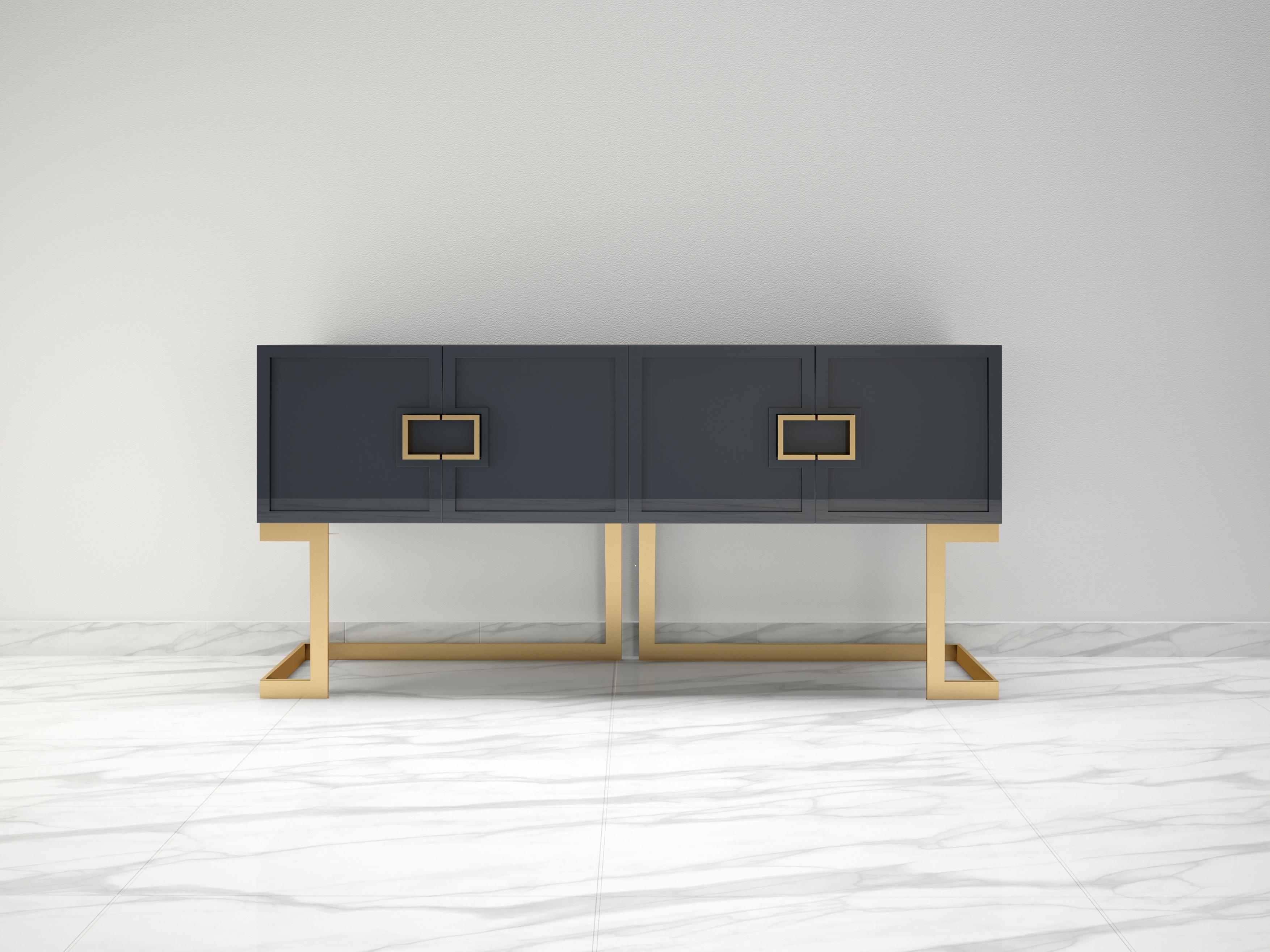Graues Design Sideboard Buffet mit polierten Messing-Beinen