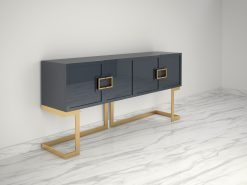 Graues Design Sideboard Buffet mit polierten Messing-Beinen, moderne Moebel, Design Moebel, Luxus Mobel, Wohnzimmerschrank, Hochglanz
