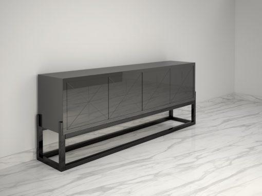 Modernes Design Sideboard mit einem Hochglanz-Finish, Luxusmoebel, Aufbewahrung, Moebel, Innendesign, Grauer lack, graue Moebel