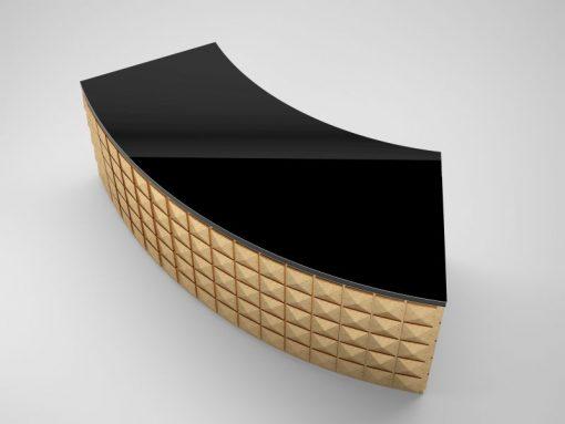battgold, klavierlack, design, schreibtisch, karo, front, diamant, schwarz, gold, gebogen, büro, elegant, wohnzimmer, elegant