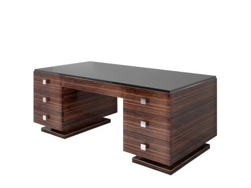 Makassar Art Deco Design Schreibtisch - Schwarze Glasplatte, design Mobel, Innendesign, Luxus, Buero, Office, Hochglanz, Tisch, Furnier