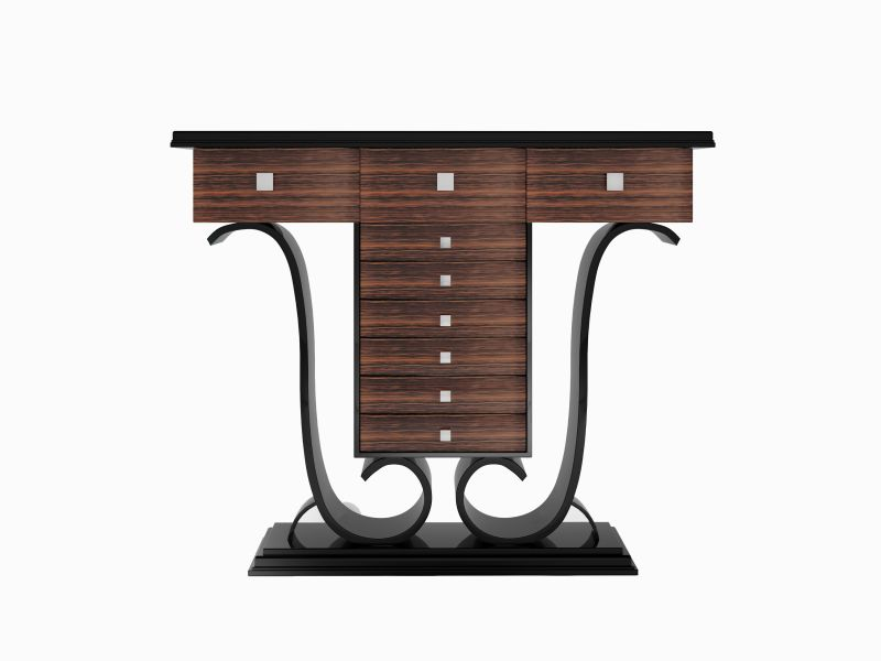 hochglanz design konsolentisch mit makassar holz und klavierlack original antike m bel. Black Bedroom Furniture Sets. Home Design Ideas