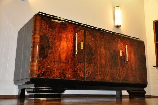 Original 1920er Art Deco Sideboard Wurzelholz mit Messinggriffen, Art Deco, Moebel, Design, Innendesign, Luxus, Walnussholz, Französische Moebel, Buffet