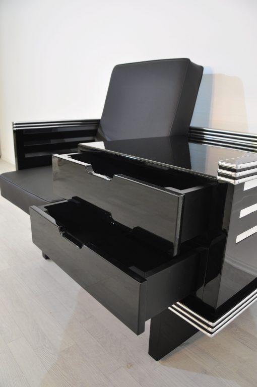 Art Deco Sessel mit Chromleisten, Pärchen, Designmöbel, Innendesign, Luxus, Individualisierbar, Sitzmöbel, Schubladen, Wohnzimmer
