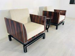 Pärchen Design Sessel im Art Deco Stil - Makassar & Klavierlack, Innendesign, Luxusmoebel, Designmöbel, Wohnzimmer, Leder, Individualisierbar