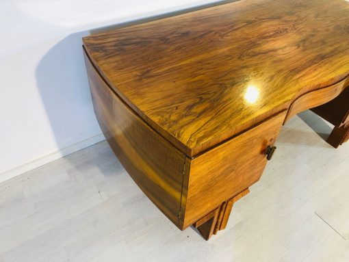 Französischer Art Deco Schreibtisch aus Massivem Walnuss mit Messinggriffen, Art Deco Schreibtische, Design, mattes Finish