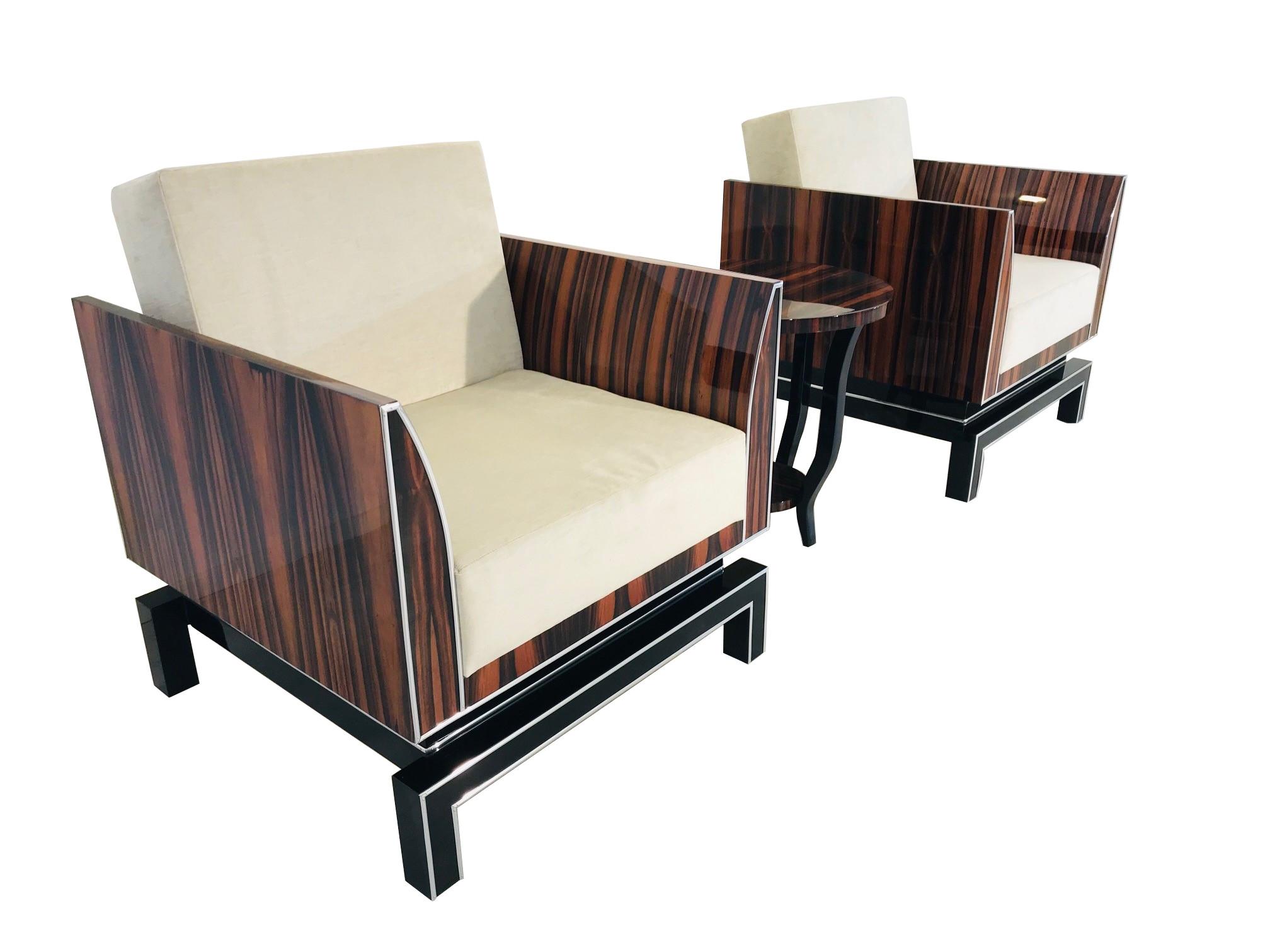 Parchen Design Sessel Im Art Deco Stil Makassar Klavierlack