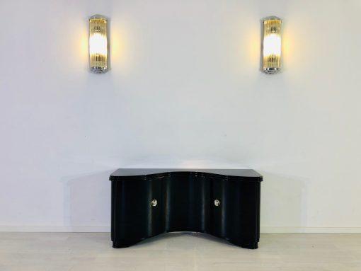 Französische Art Deco Kommode mit geschwungenen Türen und Serpentinen Design, Hochglanz-Schwarz, Designmöbel, Kommode, Antiquitäten, Design