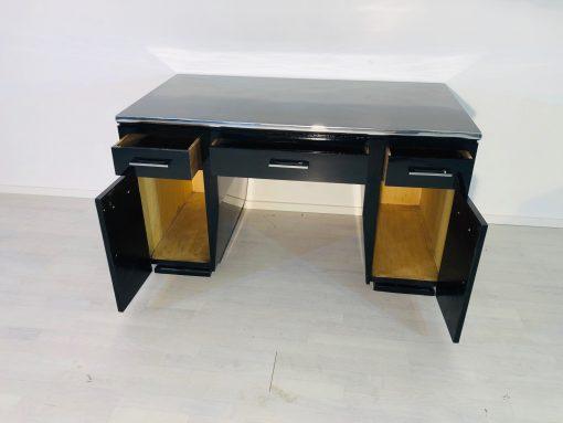 Hochglanz-Schwarzer Art Deco Schreibtisch - 1930er , Restauration, Design Möbel, Schwarze Möbel, Büro Mobel, Luxus moebel, Schreibtische
