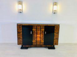 Walnuss und Makassar Art Deco Sideboard aus den 1940er Jahren, Spätes Art Deco, Möbel, Sideboards, Buffets, Edelhölzer, Design, Antiquitäten