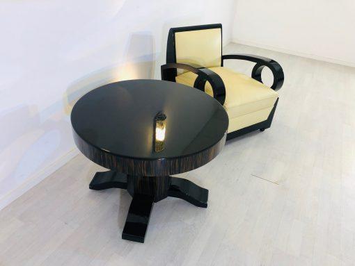 Runder Art Deco Makassar und Klavierlack Kaffeetisch, Originalmöbel, Design, Innendesign, Luxusmöbel, Hochglanz, Makassarholz,