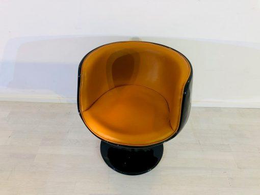Vintage 1960er Sessel in Schwarz und Cognac, Design Sessel, Midcentury, Stühle, Luxusmöbel, Einzelstück, Möbel, Sitzmöbel, Innendesign