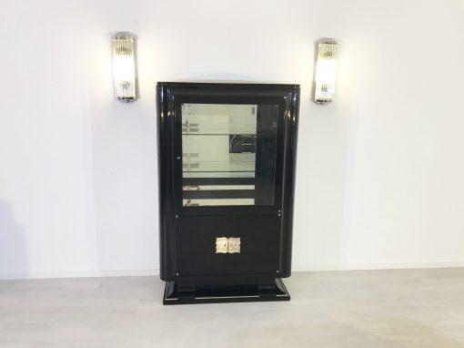 Hochglanz-Schwarze Art Deco Vitrine, Design Möbel, Luxusmöbel, Schränke, Art Deco Möbel, Schwarze Vitrinen, Aufbewahrung, Restauration