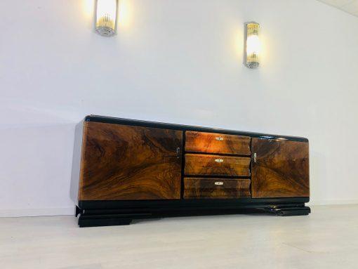 1920er Art Deco Wurzelholz Lowboard, Sideboard, Antiquitäten, Luxus-Möbel, Walnussholz, Design Möbel, Aufbewahrung, Innendesign