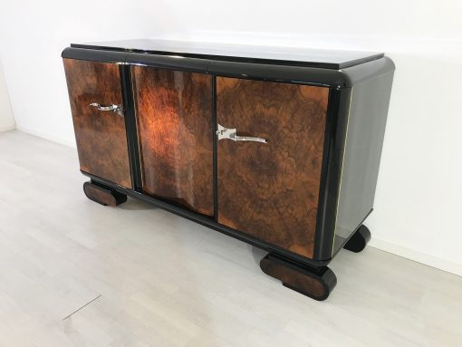 Wurzelholz Art Deco Sideboard aus Frankreich 1920er, Original Antike Möbel, Design Möbel, Walnussholz, Wohnzimmer Möbel, Buffet, Schrank
