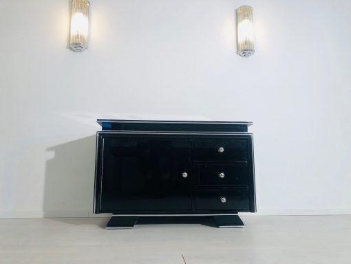 Hochglanz-Schwarze Art Deco Bar Kommode aus den 1930ern, Bar Möbel, Klavierlack, Design, Innendesign, Luxus Möbel, Aufbewahrung
