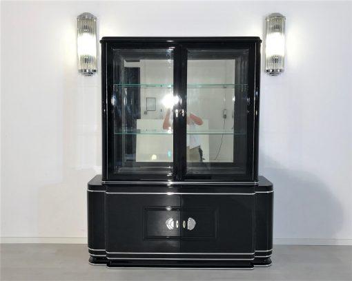 Hochglanz-Schwarzer Art Deco Vitrinenschrank, Art Deco Moebel, Design Moebel, Luxus Vitrinen, Schwarze Vitrinen, Innendesign, Art Deco Stil