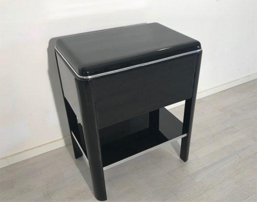1920er Art Deco Beistelltisch mit Schubläden, Art Deco Möbel, Schwarze Beistelltische, Design Möbel, Tische, Innendesign, Luxus-Möbel
