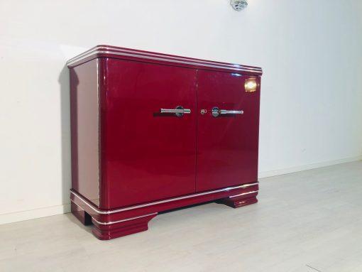Original Art Deco Kommode in Hochglanz-Rot, Art Deco Kommode, Designmöbel, Luxus-Möbel, Kommoden, Art Deco Möbel, Innendesign