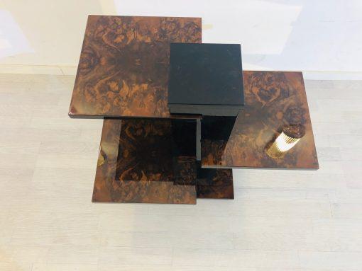 Art Deco Beistelltisch Säule aus Walnussholz, Art Deco Möbel, Hochglanz Möbel, Innendesign, Furnier, hochwertige Beistelltische