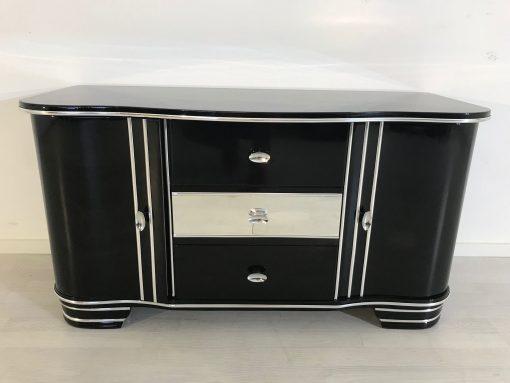 Art Deco Chrom Kommode von 1920, drei Schubladen, hochglanz schwarz, original antik, zwei Flügeltüren, Hingucker, eyecatcher,1