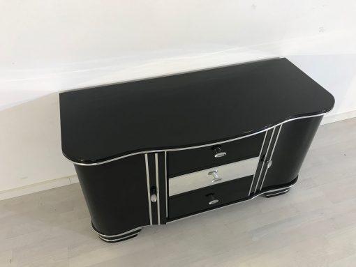 Art Deco Chrom Kommode von 1920, drei Schubladen, hochglanz schwarz, original antik, zwei Flügeltüren, Hingucker, eyecatcher,3