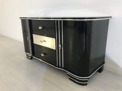 Art Deco Chrom Kommode von 1920, drei Schubladen, hochglanz schwarz, original antik, zwei Flügeltüren, Hingucker, eyecatcher,4
