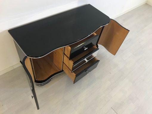 Art Deco Chrom Kommode von 1920, drei Schubladen, hochglanz schwarz, original antik, zwei Flügeltüren, Hingucker, eyecatcher,6