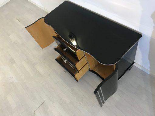 Art Deco Chrom Kommode von 1920, drei Schubladen, hochglanz schwarz, original antik, zwei Flügeltüren, Hingucker, eyecatcher,7