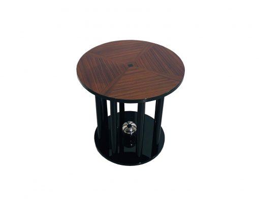 Art Deco Beistelltisch mit Säulen Fuß und Kirschholz, Art deco Möbel, Design Möbel, klavierlack, Kirschholz, Luxus Möbel, Inneneinrichtung