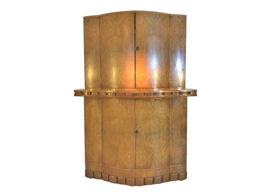 1920er Art Deco Bar aus hellem Walnussholz, Großbritannien, Innendesign, Antiquitäten, Qualität, Design, Möbel, Barmöbel, Schränke