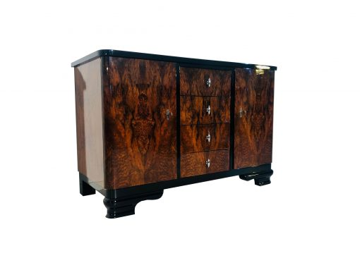 1930er Art Deco Walnuss Wurzelholz Kommode, Design Möbel, Art Deco Möbel, Aufbewahrung, Furnier, Luxus-Möbel, Wohnzimmer, Kommoden