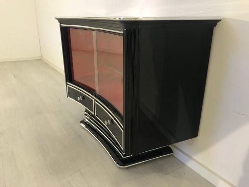 Art Deco Vitrine oder Bar 1920er Jahre aus Frankreich, Original Art Deco, Art Deco Möbel, Klavierlack, Chrombänder, Schiebetüren