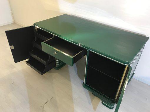 Art Deco Schreibtisch, 1920 aus Frankreich, Original Art Deco Möbel, Jaguar Racing Green, Crombänder, Klavierlack, Antiker Schreibtisch