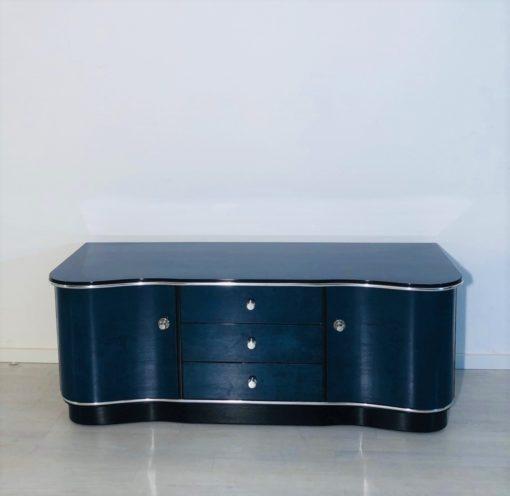 Blaue Art Deco Kommode oder Lowboard Frankreich 1930er, Art Deco Möbel, Sideboard, Design, Luxusmoebel, Art Deco Möbel im Angebot