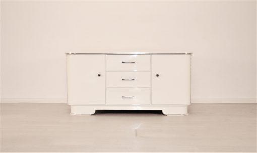 Hochglanz Weiße Art Deco Kommode 1930er, Restauration, Lack, Antike Kommoden, 1930er Jahre, Designmöbel, Luxusmöbel, Wohnzimmer