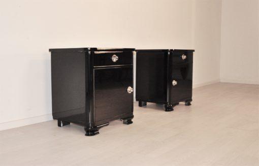 Schwarze Art Deco Nachtschränke 1920er Jahre, Original Art Deco Moebel, Schwarze Nachtschränke, Nachtschränkchen, Antiquitäten, Restauration