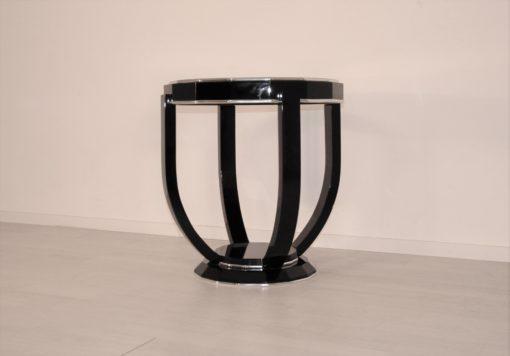 Art Deco Design Beistelltisch Sechszehn Ecken, Klavierlack, Designmoebel, Luxusmoebel, Art Deco, Chromleisten, Wohnzimmer, Beistelltisch