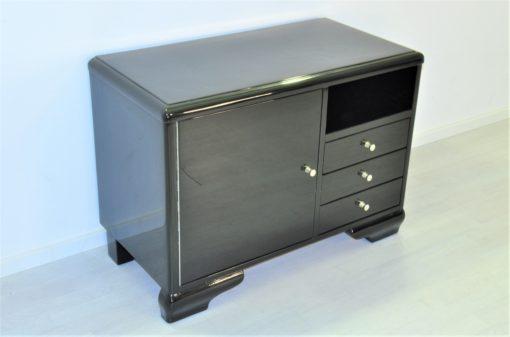 Hochglanz-Schwarze Art Deco Kommode mit Tür, Art Deco Möbel, Design Möbel, Luxus Möbel, Klavierlack Kommode, Hochglanz Kommoden