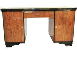 Schlichter Nussbaum Schreibtisch 1940er, Schlichte Art Deco Möbel, Luxus Büro, Elegantes Design, Design Schreibtische, Art Deco Design